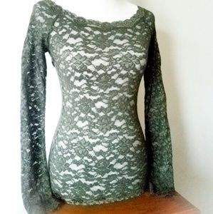 Olive Green Floral Lace See-through Stretch Top